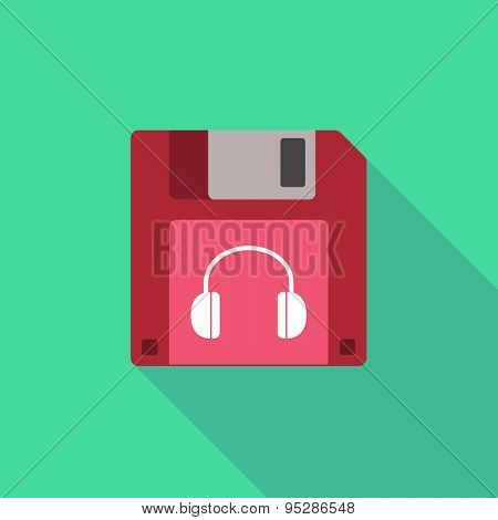 Long Shadow Floppy Icon With A Earphones