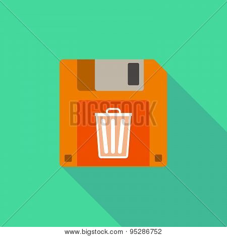 Long Shadow Floppy Icon With A Trash Can