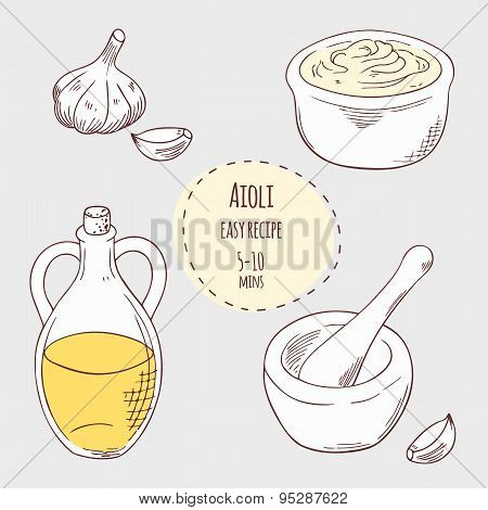 Aioli sauce recipe illustration in vector