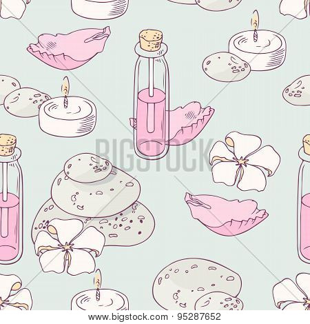 Aromatherapy and spa hand drawn seamless pattern in vector
