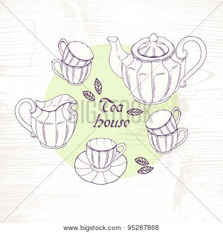 Hand drawn tea porcelain service set