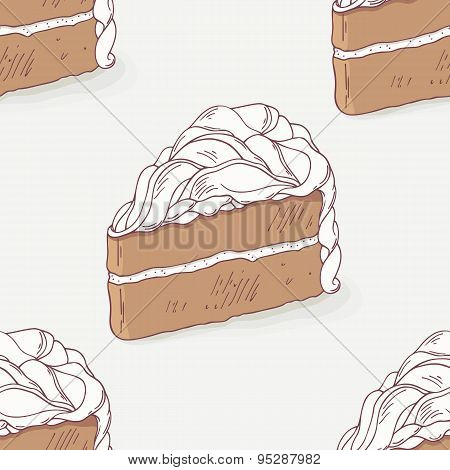 Chocolate cake doodle seamless pattern