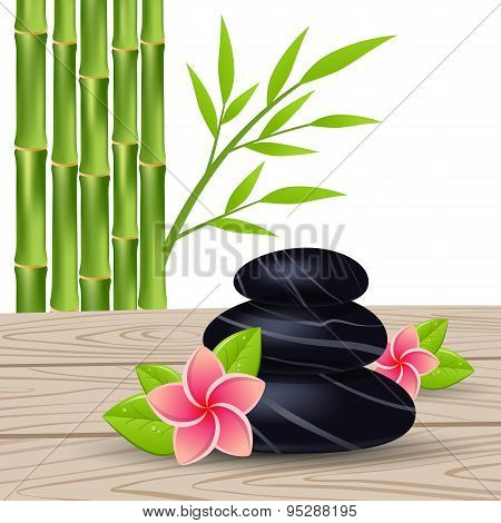 flower and bamboo isolated on a white background