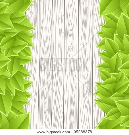 template with wood and leaves
