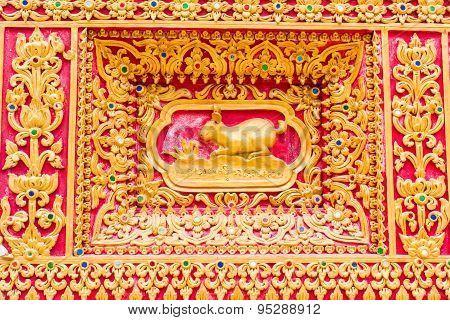 Rabbit Wall Sculpture In Thai Temple