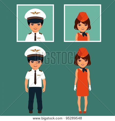 pilot and stewardess, airplane people,