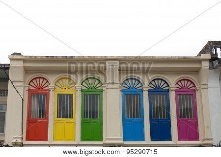 Colourful vintage windows