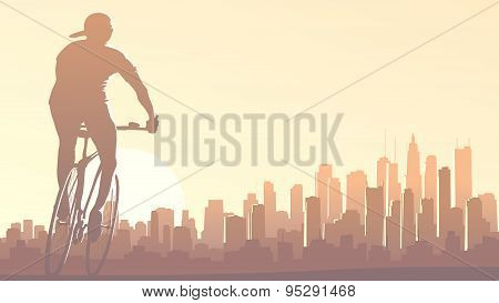 Horizontal Illustration Of Cyclist Rides In Big City At Sunset.