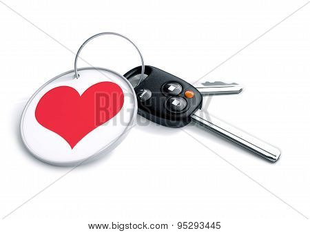 Set Of Car Keys With Keyring And Red Heart Icon. Concept For How People Love The Car They Drive And