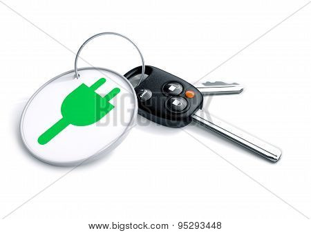 Set Of Car Keys With Keyring And Electric Power Icon On It. Concept For Converting Consumers To Usin