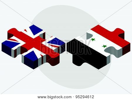 United Kingdom And Syria Flags