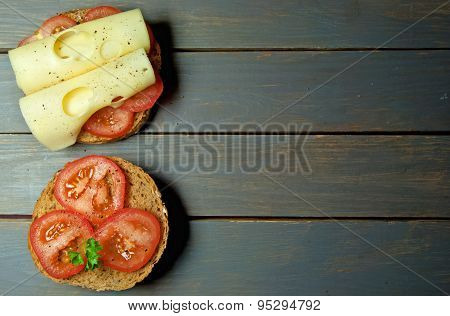 Tomato And Cheese Sandwich With Copy Space