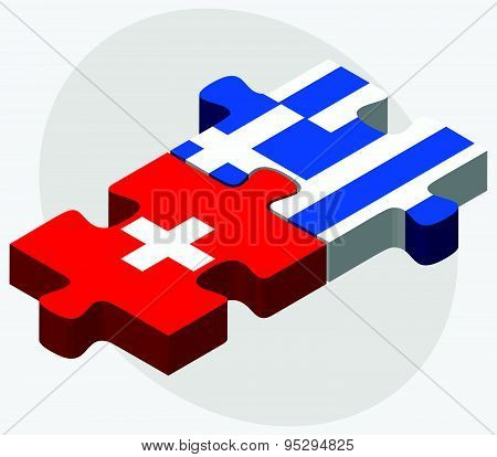 Switzerland And Greece Flags