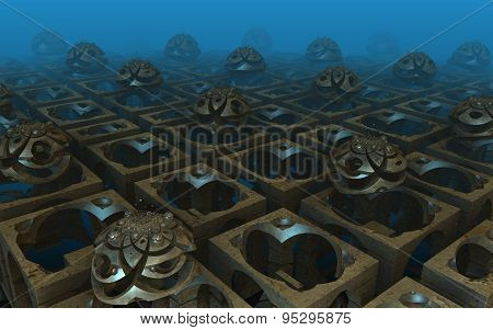 Undersea virtual architecture scenery