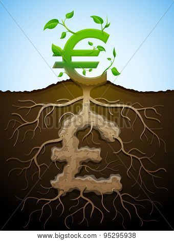 Growing Euro Sign As Plant With Leaves And Pound As Root