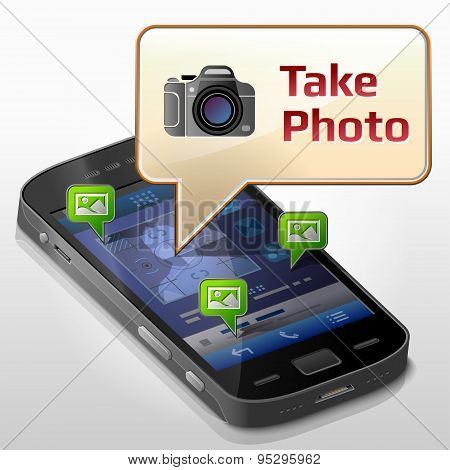 Smartphone With Message Bubble About Photographing
