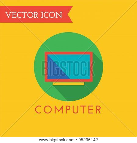 Computer Icon Vector Logo. Shop, Money or Commerce and Technology symbol. Stocks Design Element.