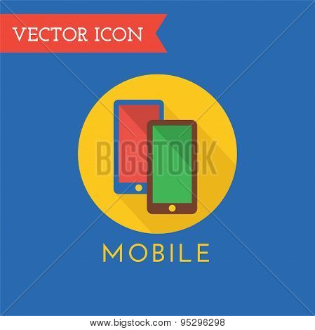 Mobile Icon Vector Logo. Shop, Money or Commerce and Computer symbol. Stocks Design Element.