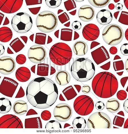 Various Sport Balls Seamless Color Pattern Eps10