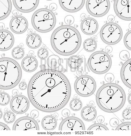 Silver Stopwatch Case And Dials With Hands Seamless Pattern Eps10