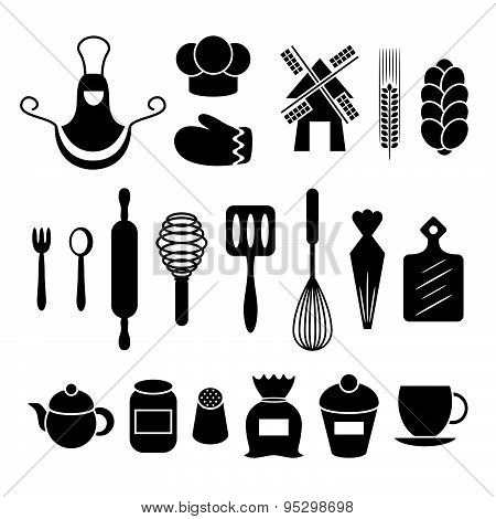 Baking Kitchen Tools Silhouettes Set