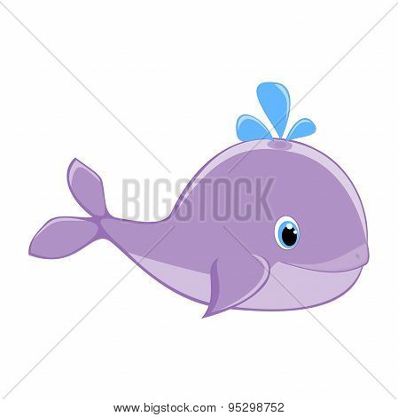 Baby whale with water splash vector illustration