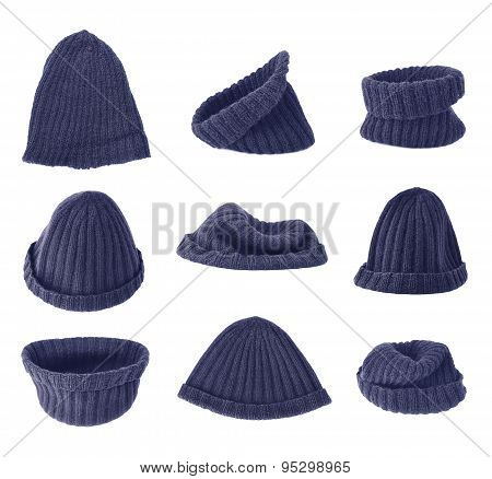 Dark blue knitted head cap isolated