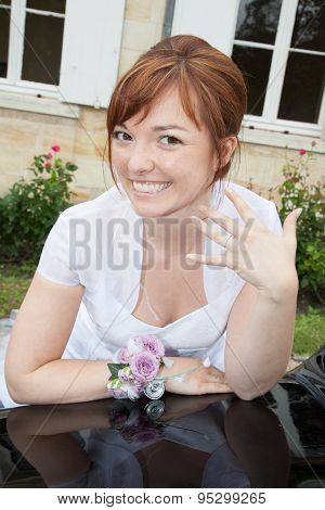 Beautiful And Lovely Bride With Red Hair And Freckles