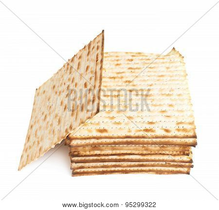 Pile of machine made matza flatbread