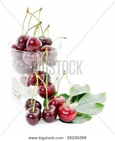 Cherries, Leaves And Glass.