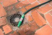 foto of bagpiper  - Green garden hose next to a sink drain - JPG
