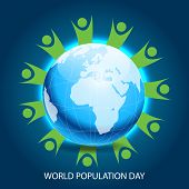 foto of population  - Creative a beautiful greeting with globe for World Population Day - JPG