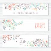 Постер, плакат: Vintage cards with flower patterns and floral ornaments