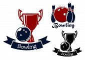 Постер, плакат: Bowling game icons with balls ninepins and trophy