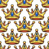 image of precious stone  - Medieval open golden crowns with blue precious stones seamless pattern in cartoon style for royal design - JPG