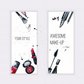 picture of nail-design  - Vector watercolor Glamorous make up set of banners with nail polish and lipstick - JPG
