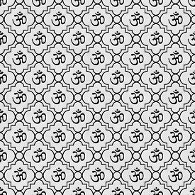 picture of hindu  - Black and White Aum Hindu Symbol Tile Pattern Repeat Background that is seamless and repeats - JPG