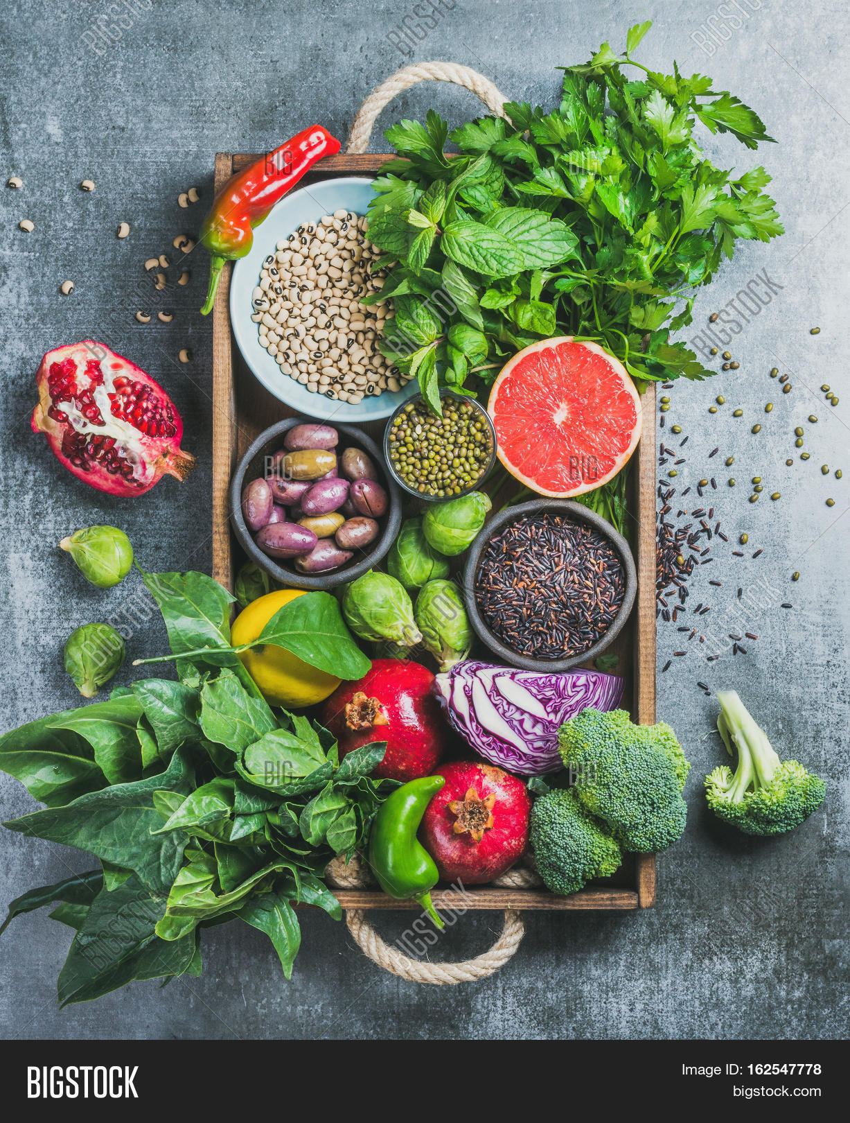 , superfoods, herbs, condiment in wooden box for vegan, gluten free ...