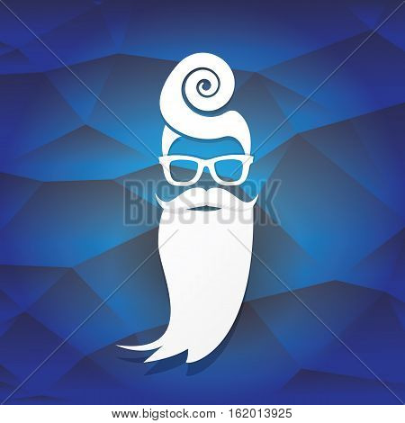 Santa claus with beard vector illustration .Christmas hipster poster for party or greeting card. Santa Hipster Claus. vector merry christmas art design background