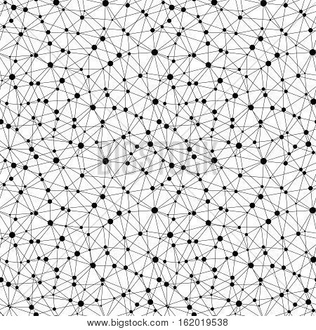 Vector monochrome seamless pattern, geometric background texture with linear triangles & circles. Illustration of atomic structure, net. Design for tileable print, wrapping, fabric, textile, digital, web