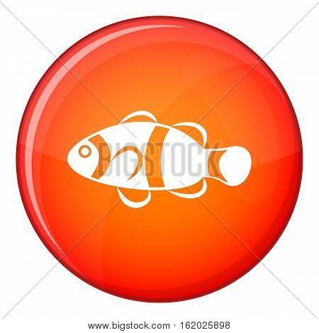 Cute clown fish icon in red circle isolated on white background vector illustration