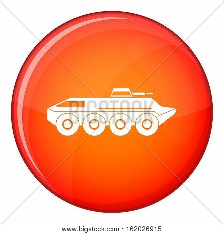 Armored personnel carrier icon in red circle isolated on white background vector illustration