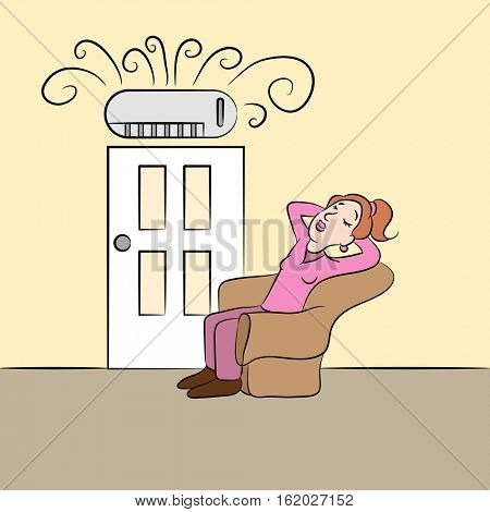 An image of a girl cooling off while using a ductless air conditioning unit.
