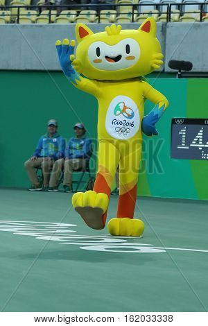 RIO DE JANEIRO, BRAZIL - AUGUST 12, 2016: Vinicius is the official mascot of the Rio 2016 Summer Olympics at the Olympic Tennis Centre in Rio de Janeiro