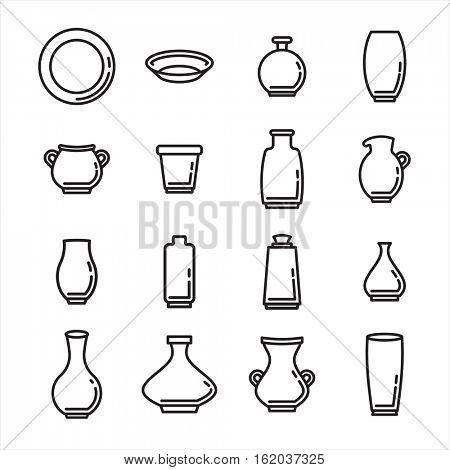 Vector icon set of various kitchenware on white background