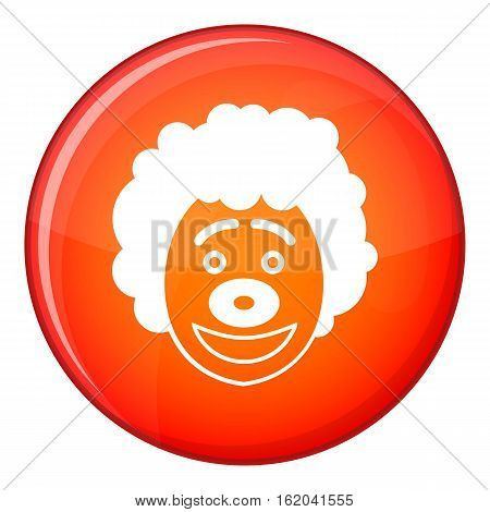 Clown head icon in red circle isolated on white background vector illustration