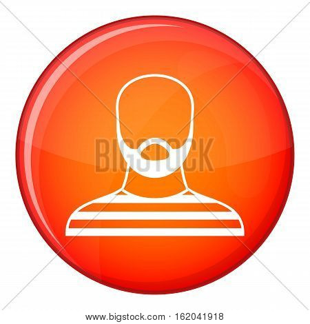 Bearded man in prison garb icon in red circle isolated on white background vector illustration