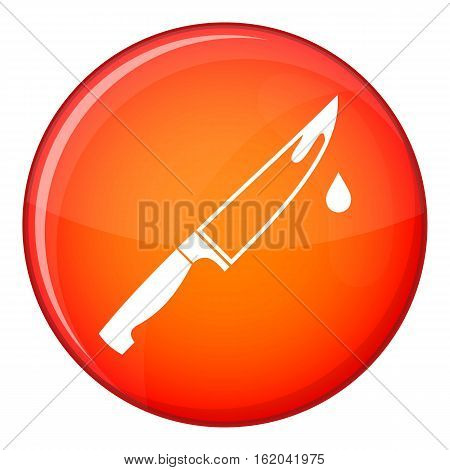 Steel knife icon in red circle isolated on white background vector illustration