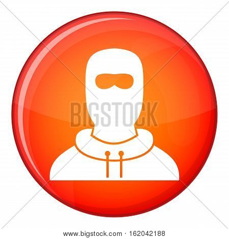 Man in balaclava icon in red circle isolated on white background vector illustration