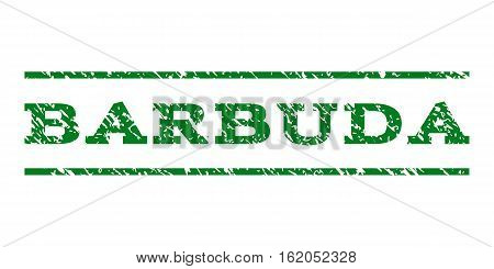Barbuda watermark stamp. Text tag between horizontal parallel lines with grunge design style. Rubber seal stamp with scratched texture. Vector green color ink imprint on a white background.